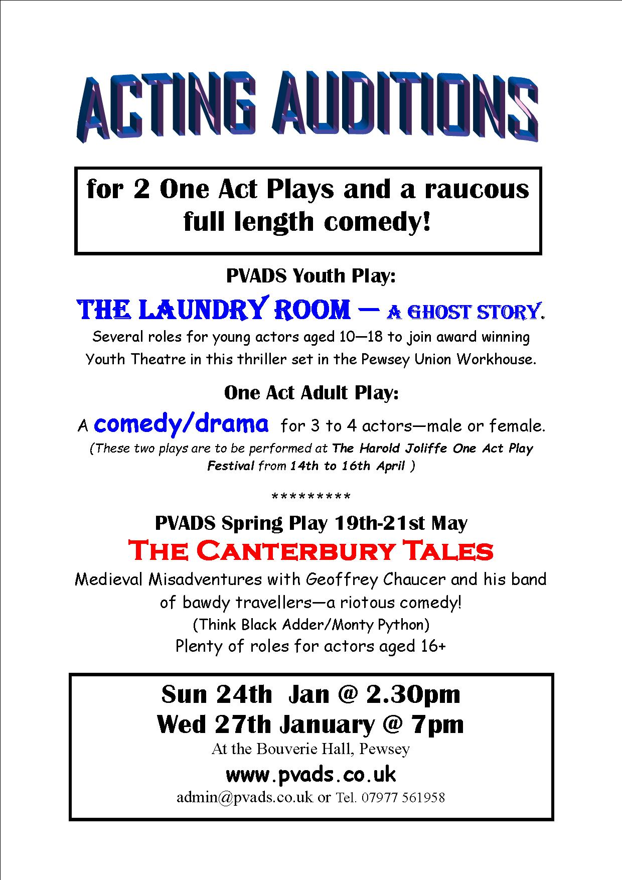 Audition Notice for 2 One Act Plays and Canterbury Tales – PVADS Website